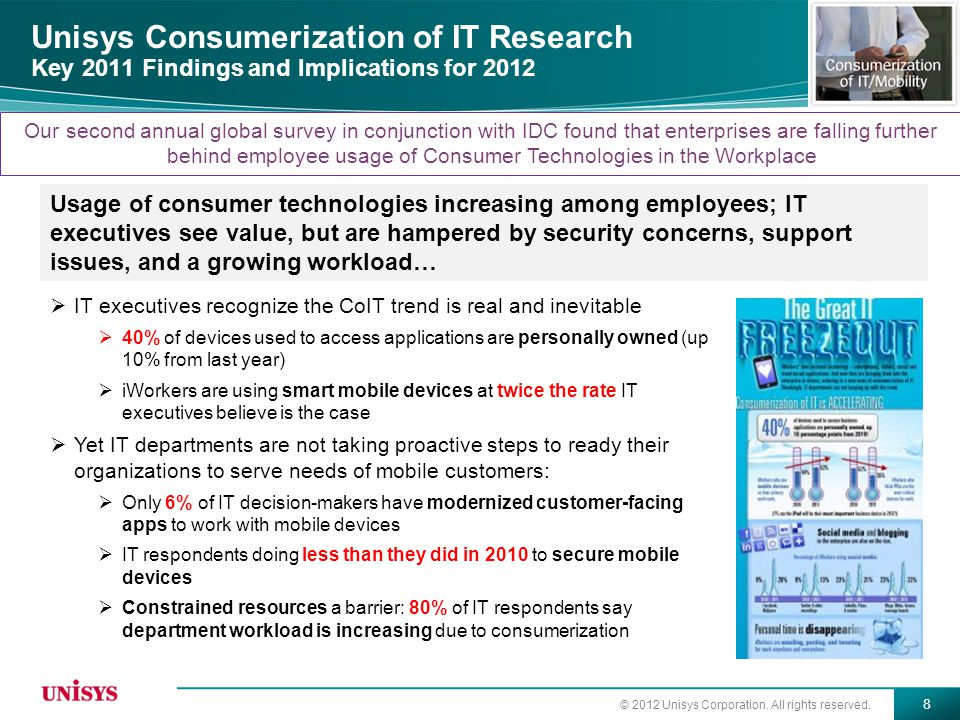 © 2012 Unisys Corporation. All rights reserved. 8 Unisys Consumerization of IT Research Key 2011 Findings and Implications for 2012  IT executives re