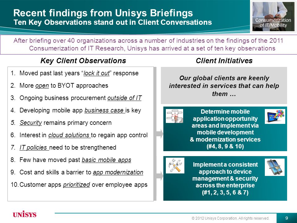 © 2012 Unisys Corporation. All rights reserved. 9 Recent findings from Unisys Briefings Ten Key Observations stand out in Client Conversations Key Cli