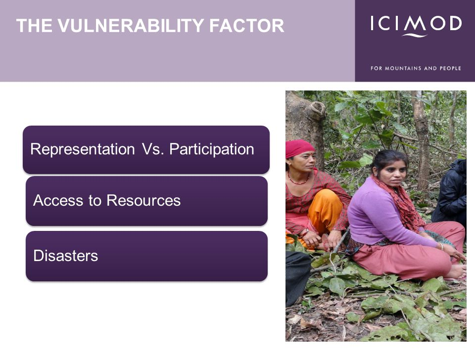 THE VULNERABILITY FACTOR Representation Vs. Participation Access to ResourcesDisasters