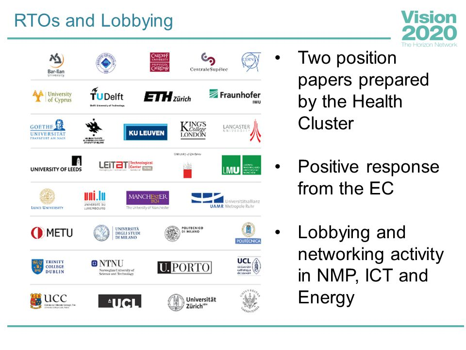 RTOs and Lobbying Two position papers prepared by the Health Cluster Positive response from the EC Lobbying and networking activity in NMP, ICT and En