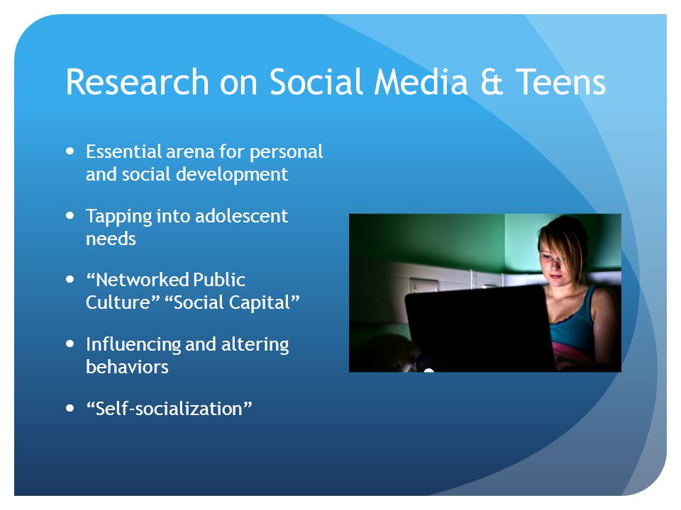 "Research on Social Media & Teens Essential arena for personal and social development Tapping into adolescent needs ""Networked Public Culture"" ""Social"