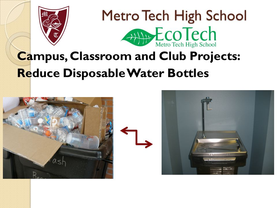 Campus, Classroom and Club Projects: Reduce Disposable Water Bottles Metro Tech High School