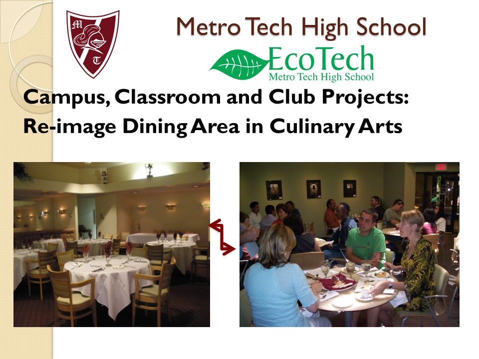 Campus, Classroom and Club Projects: Re-image Dining Area in Culinary Arts Metro Tech High School