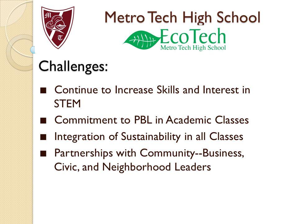 Metro Tech High School Challenges: