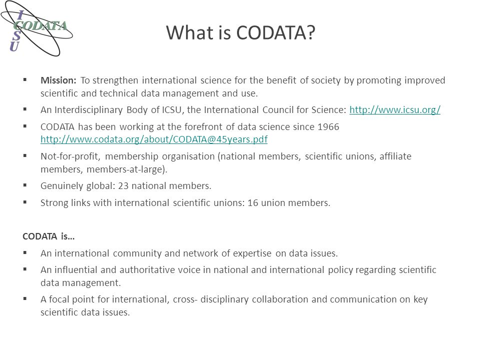 What is CODATA.
