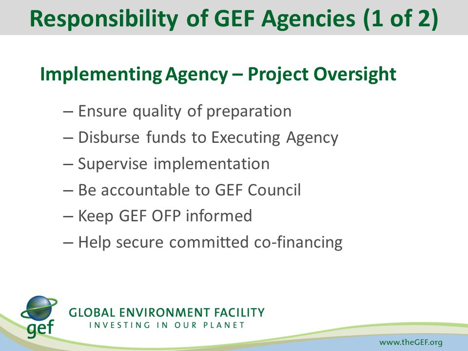 Implementing Agency – Project Oversight – Ensure quality of preparation – Disburse funds to Executing Agency – Supervise implementation – Be accountable to GEF Council – Keep GEF OFP informed – Help secure committed co-financing Responsibility of GEF Agencies (1 of 2)