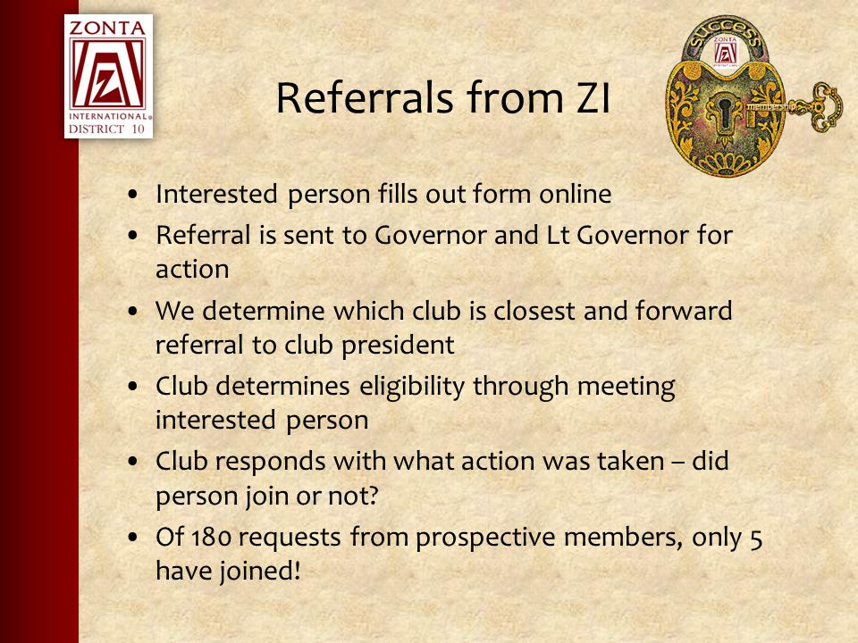Referrals from ZI Interested person fills out form online Referral is sent to Governor and Lt Governor for action We determine which club is closest and forward referral to club president Club determines eligibility through meeting interested person Club responds with what action was taken – did person join or not.