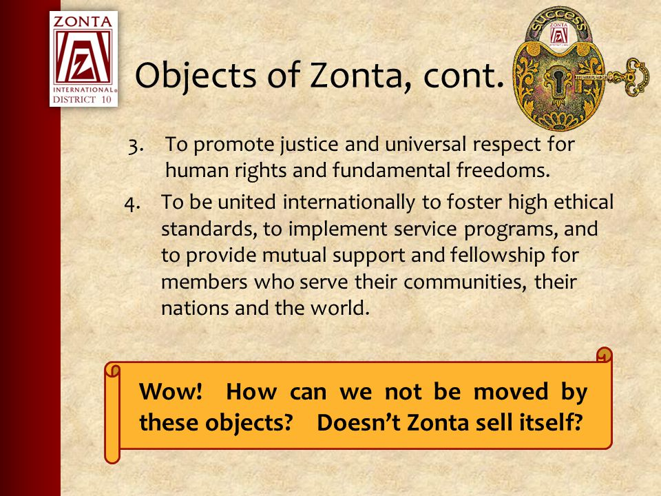 Objects of Zonta, cont.
