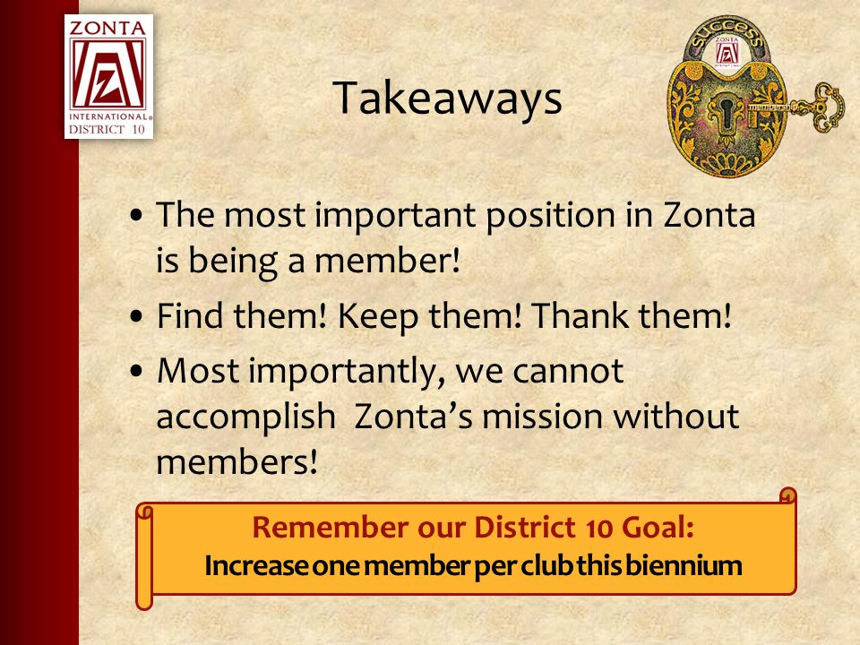 Takeaways The most important position in Zonta is being a member.