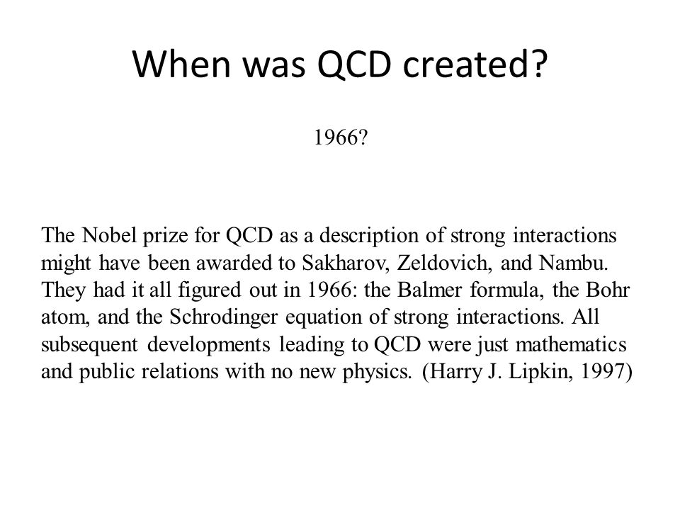 When was QCD created. 1966.