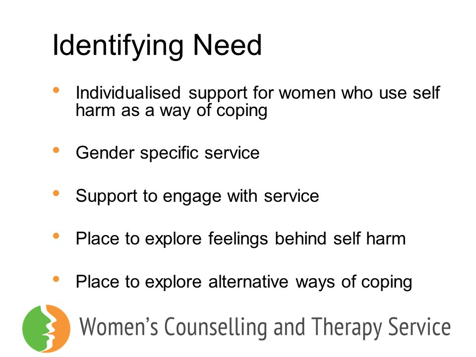 Identifying Need Individualised support for women who use self harm as a way of coping Gender specific service Support to engage with service Place to