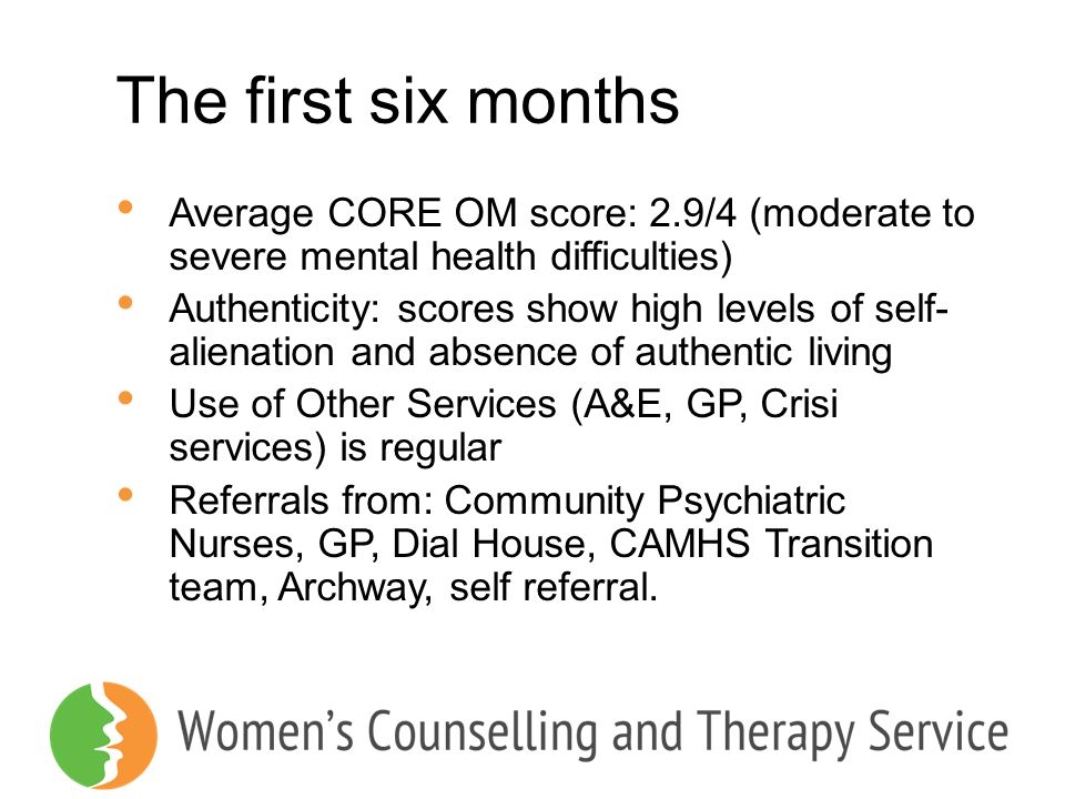 The first six months Average CORE OM score: 2.9/4 (moderate to severe mental health difficulties) Authenticity: scores show high levels of self- alien