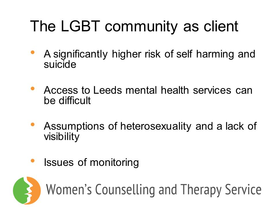 The LGBT community as client A significantly higher risk of self harming and suicide Access to Leeds mental health services can be difficult Assumptio
