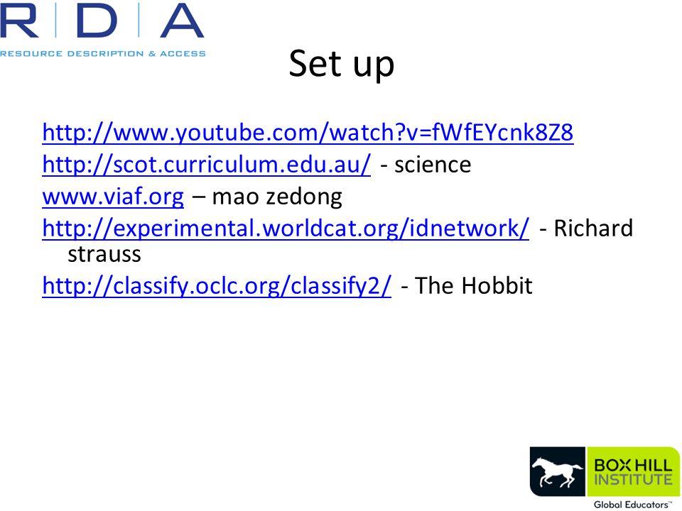 Set up http://www.youtube.com/watch?v=fWfEYcnk8Z8 http://scot.curriculum.edu.au/http://scot.curriculum.edu.au/ - science www.viaf.orgwww.viaf.org – mao zedong http://experimental.worldcat.org/idnetwork/http://experimental.worldcat.org/idnetwork/ - Richard strauss http://classify.oclc.org/classify2/http://classify.oclc.org/classify2/ - The Hobbit