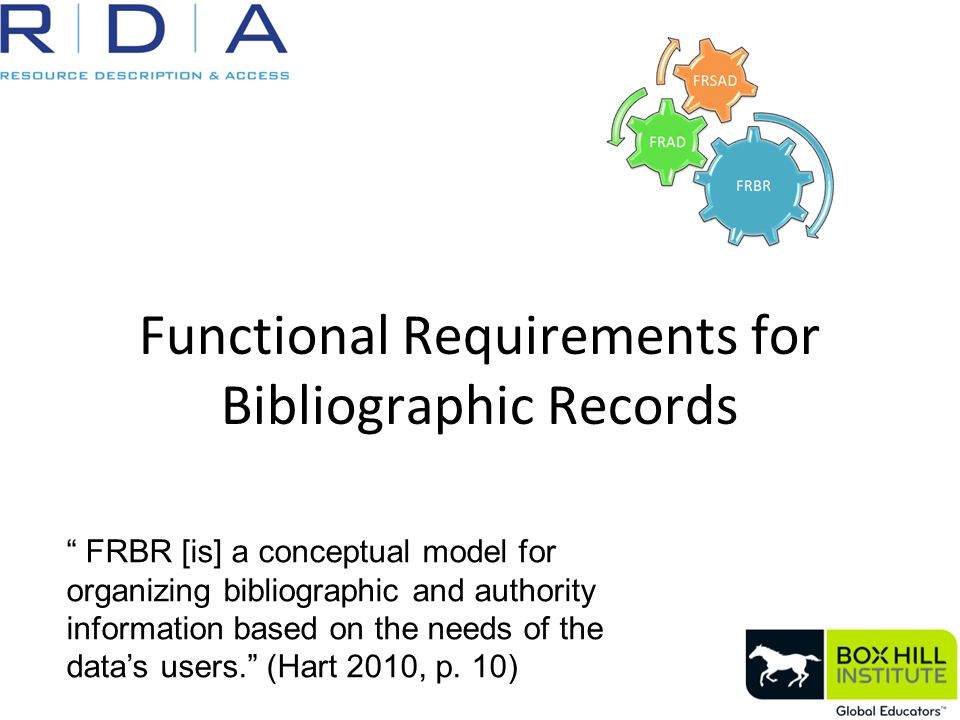 """Functional Requirements for Bibliographic Records """" FRBR [is] a conceptual model for organizing bibliographic and authority information based on the n"""