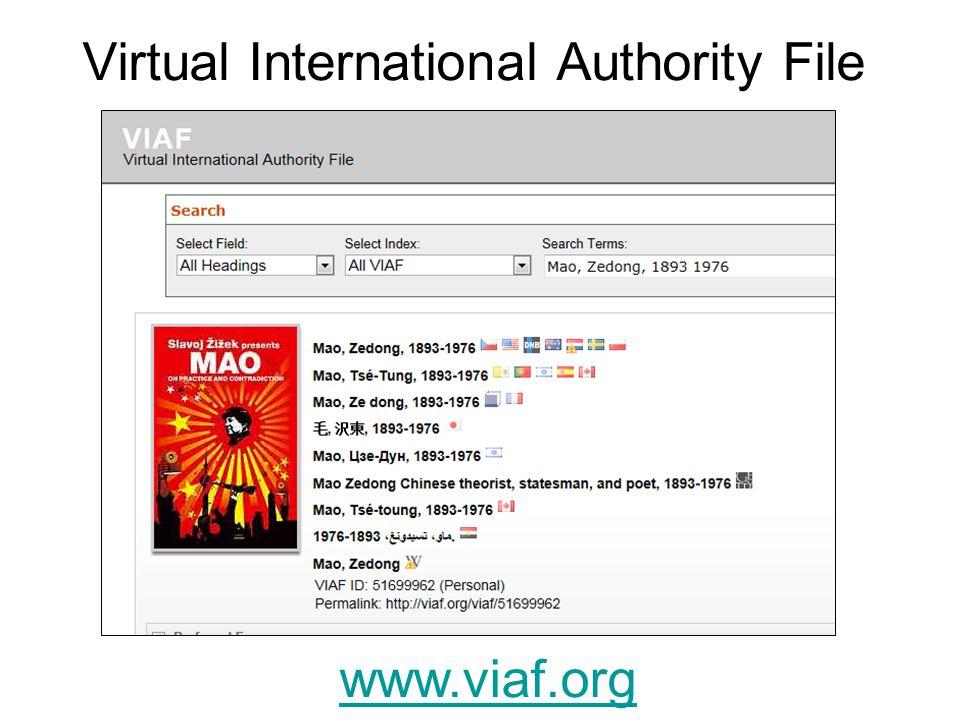 Virtual International Authority File www.viaf.org