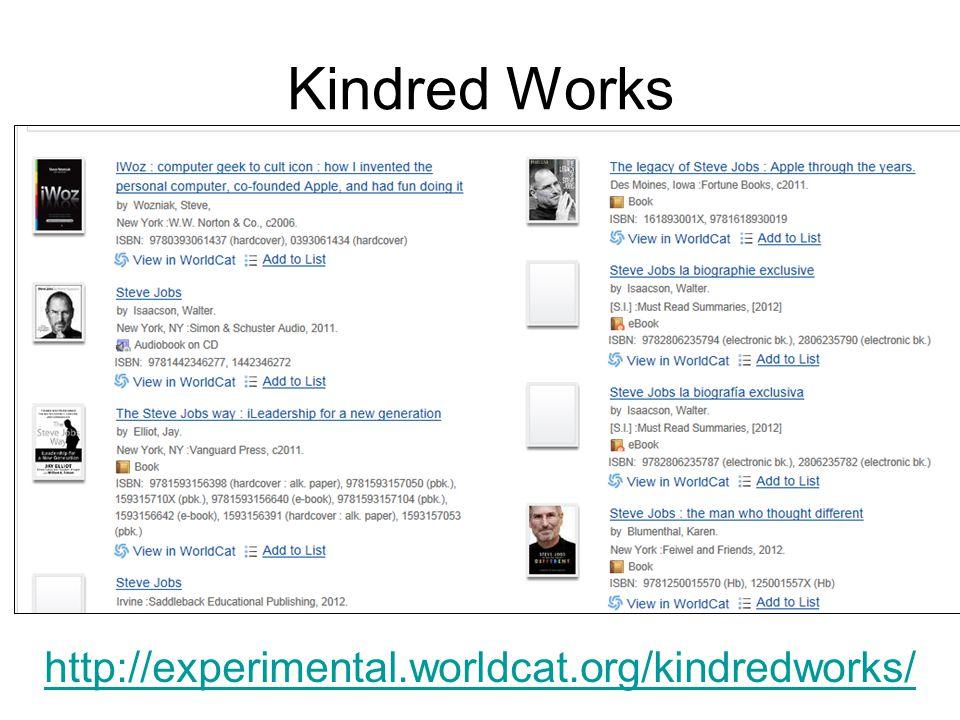 Kindred Works http://experimental.worldcat.org/kindredworks/