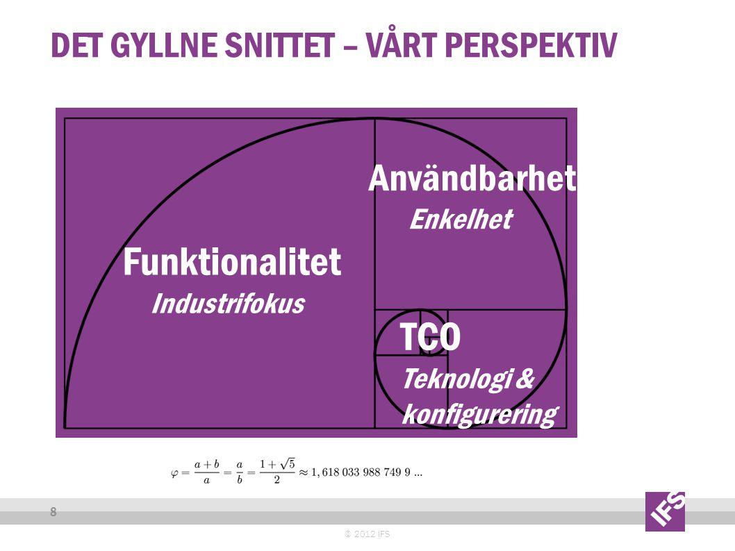 DET GYLLNE SNITTET – VÅRT PERSPEKTIV © 2012 IFS 8 Funktionalitet Industrifokus Användbarhet Enkelhet TCO Teknologi & konfigurering