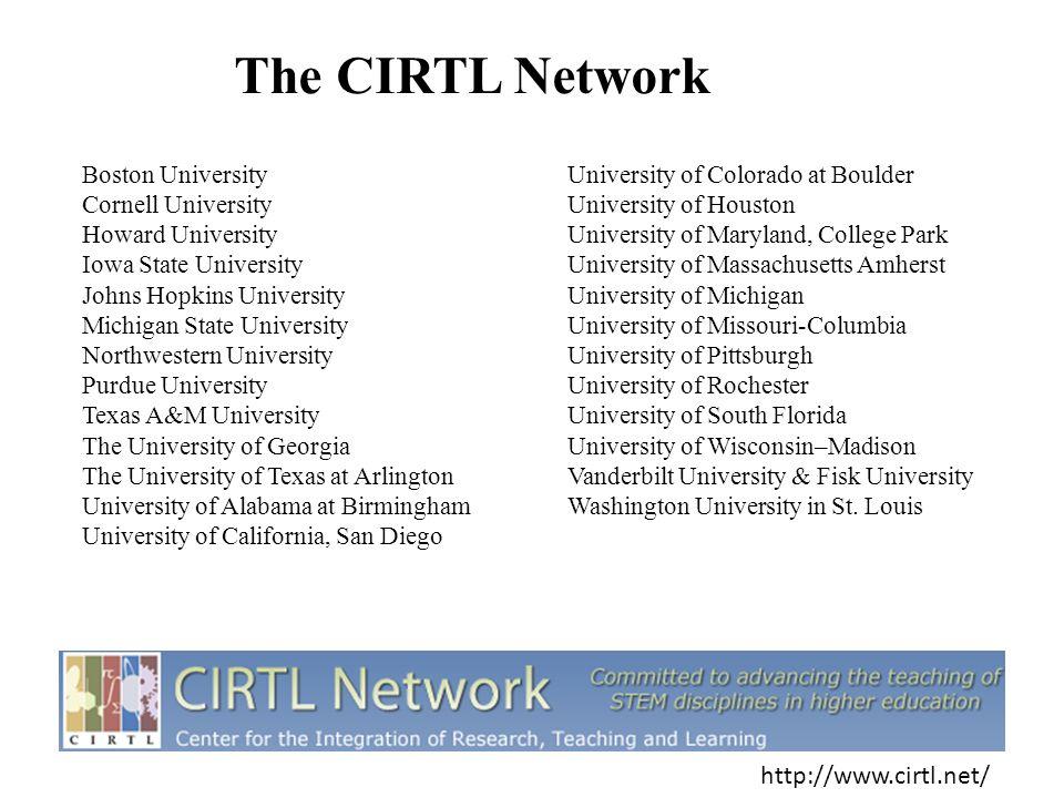 The CIRTL Network Boston University Cornell University Howard University Iowa State University Johns Hopkins University Michigan State University Nort