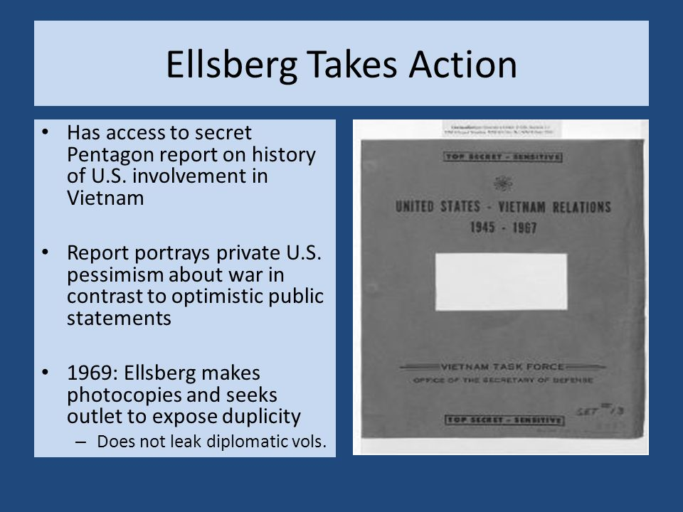 Ellsberg Takes Action Has access to secret Pentagon report on history of U.S. involvement in Vietnam Report portrays private U.S. pessimism about war