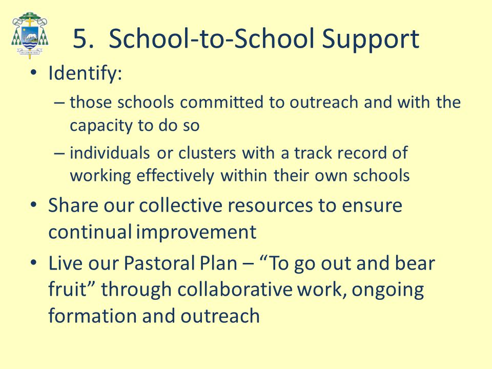 5. School-to-School Support Identify: – those schools committed to outreach and with the capacity to do so – individuals or clusters with a track reco