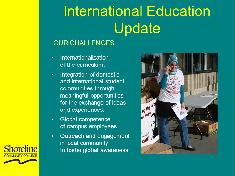International Education Update OUR CHALLENGES Internationalization of the curriculum. Integration of domestic and international student communities th