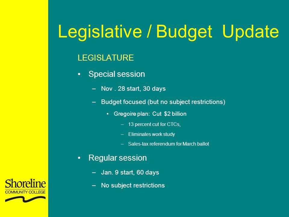 Legislative / Budget Update LEGISLATURE Special session –Nov.