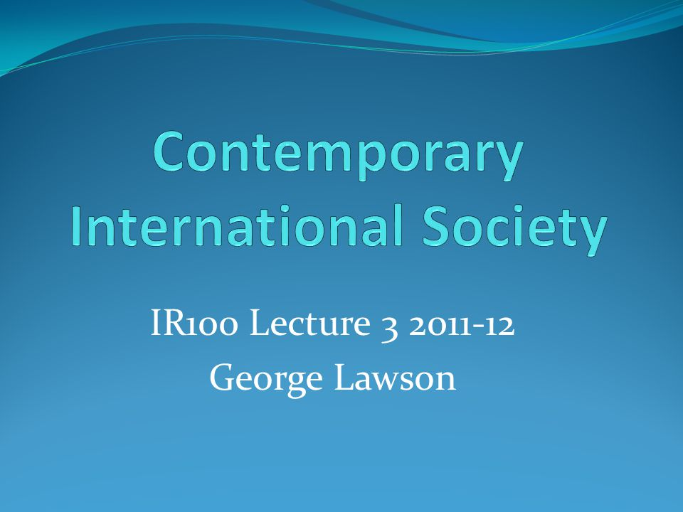 IR100 Lecture 3 2011-12 George Lawson