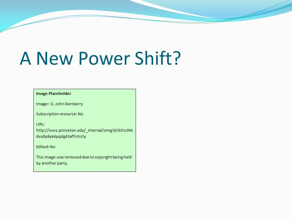 A New Power Shift. Image Placeholder Image: G.