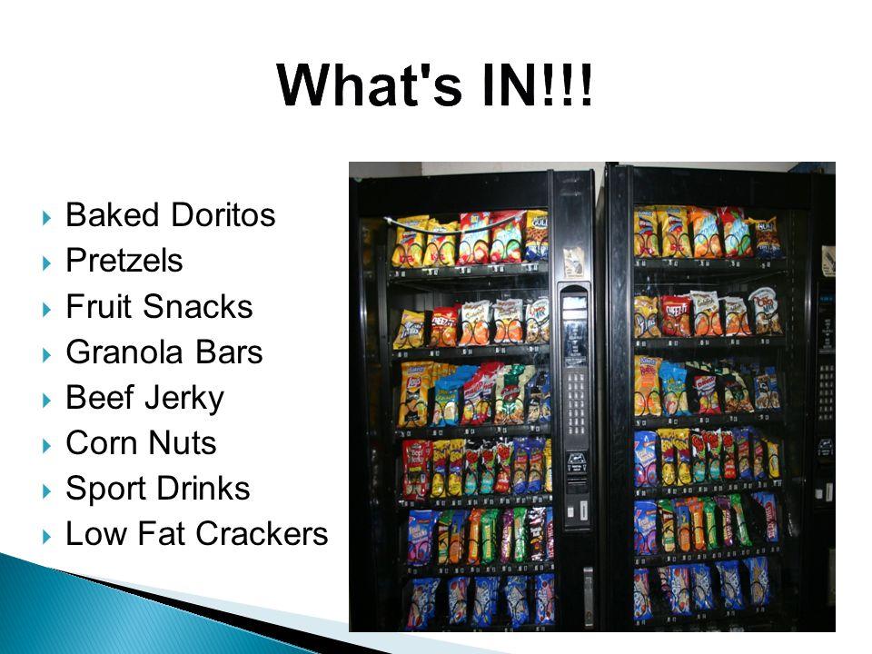  Baked Doritos  Pretzels  Fruit Snacks  Granola Bars  Beef Jerky  Corn Nuts  Sport Drinks  Low Fat Crackers