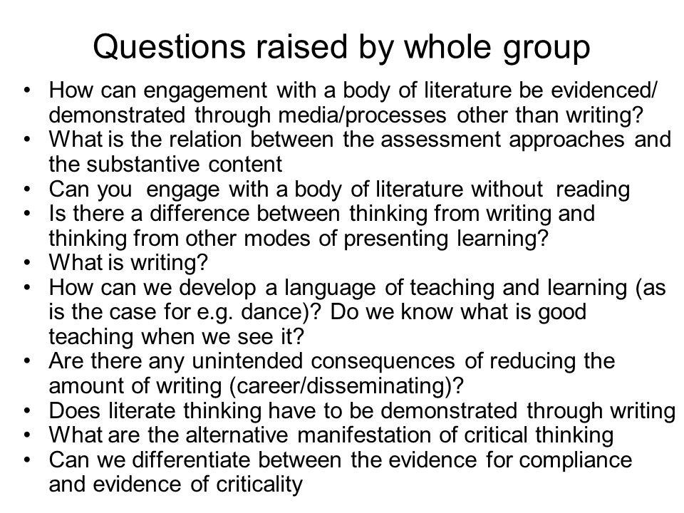 How can engagement with a body of literature be evidenced/ demonstrated through media/processes other than writing? What is the relation between the a
