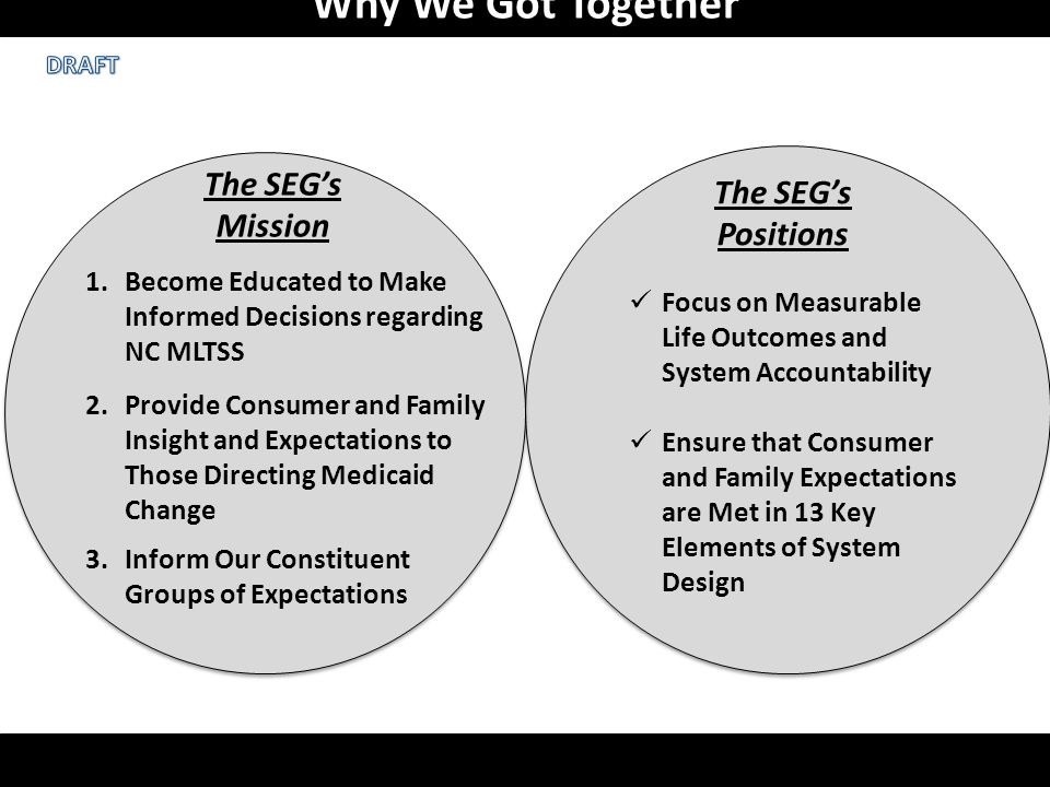 Why We Got Together 1.Become Educated to Make Informed Decisions regarding NC MLTSS 2.Provide Consumer and Family Insight and Expectations to Those Directing Medicaid Change 3.Inform Our Constituent Groups of Expectations The SEG's Mission The SEG's Positions Focus on Measurable Life Outcomes and System Accountability Ensure that Consumer and Family Expectations are Met in 13 Key Elements of System Design