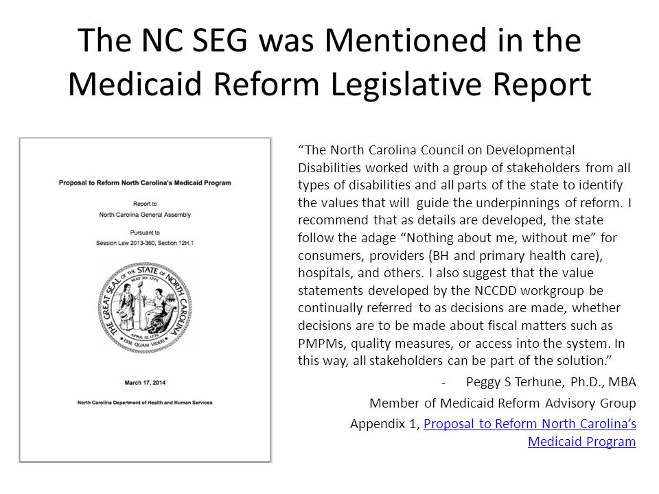 The NC SEG was Mentioned in the Medicaid Reform Legislative Report The North Carolina Council on Developmental Disabilities worked with a group of stakeholders from all types of disabilities and all parts of the state to identify the values that will guide the underpinnings of reform.