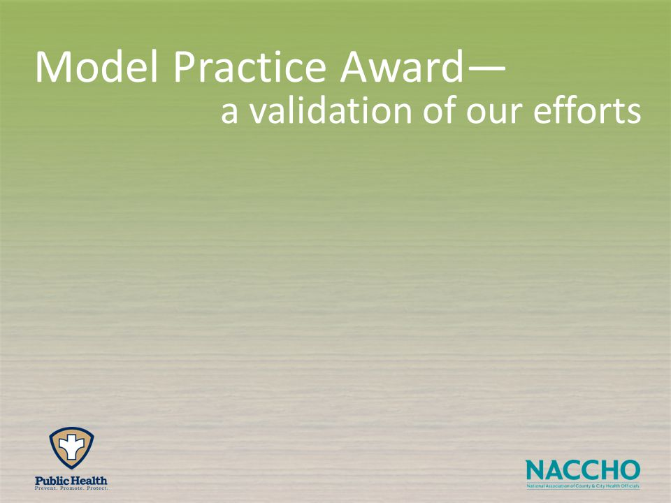 a validation of our efforts Model Practice Award—