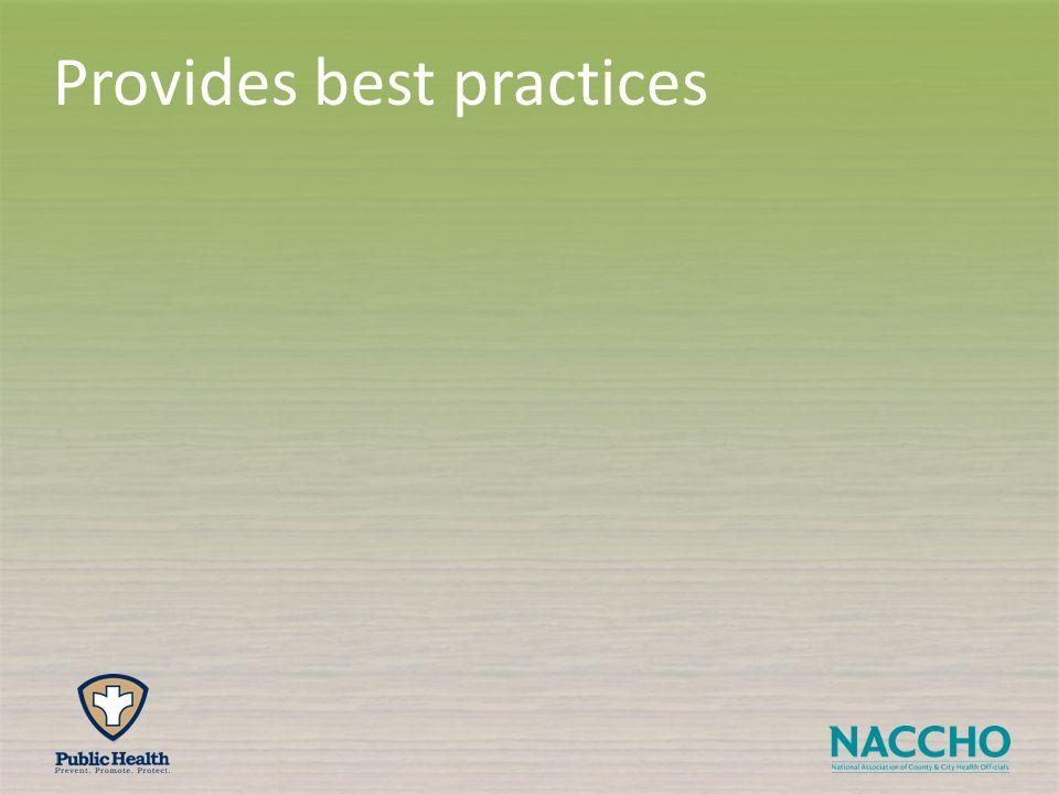 Provides best practices