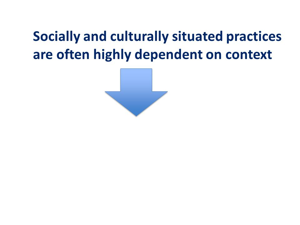 Socially and culturally situated practices are often highly dependent on context