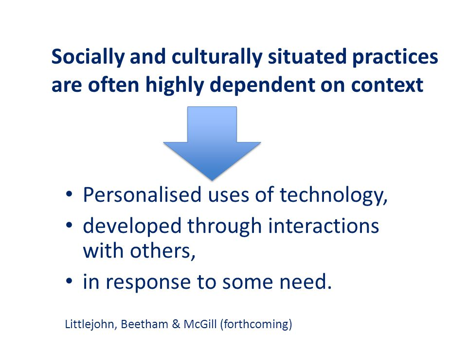 Personalised uses of technology, developed through interactions with others, in response to some need.