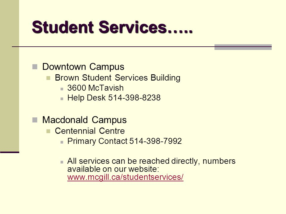 Student Services…..