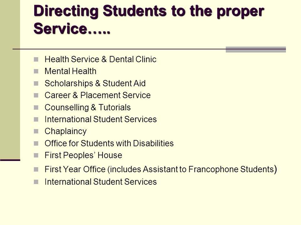 Directing Students to the proper Service…..
