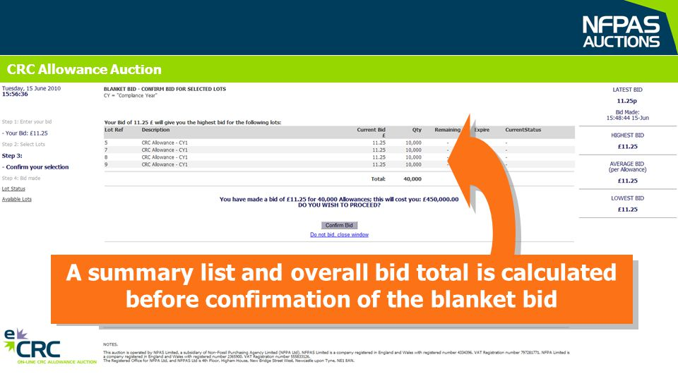 A summary list and overall bid total is calculated before confirmation of the blanket bid