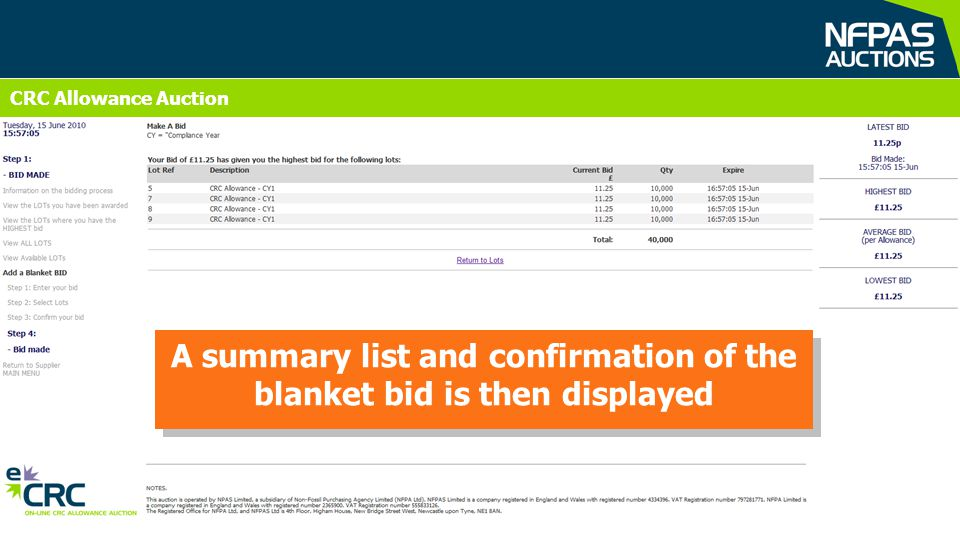 CRC Allowance Auction A summary list and confirmation of the blanket bid is then displayed