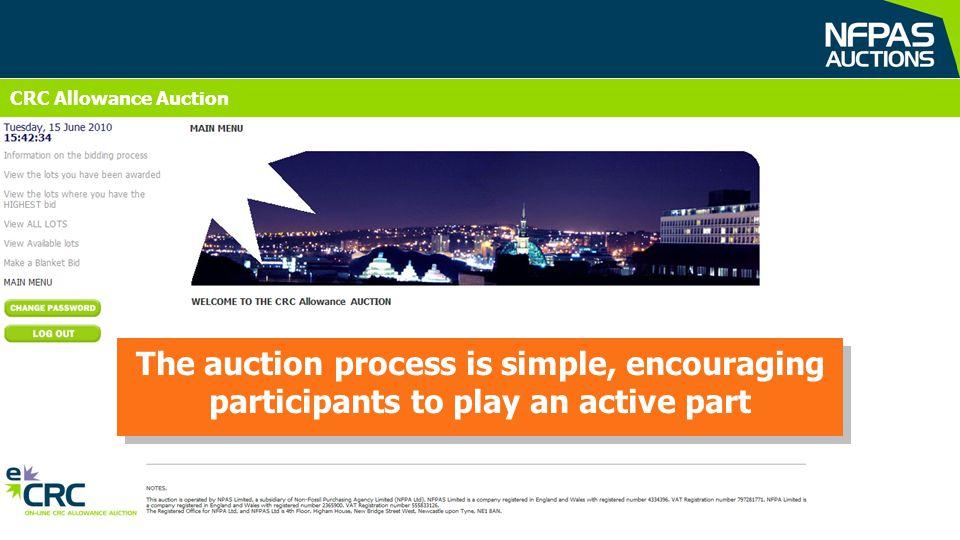 CRC Allowances Auction CRC Allowance Auction The auction process is simple, encouraging participants to play an active part