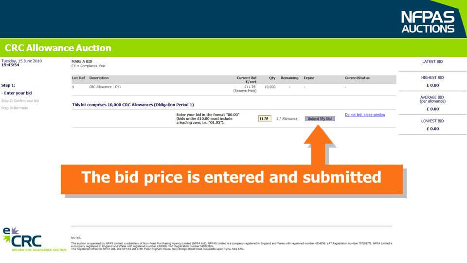 CRC Allowance Auction The bid price is entered and submitted 11.25