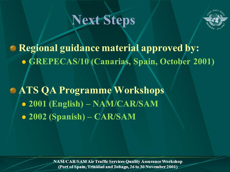 NAM/CAR/SAM Air Traffic Services Quality Assurance Workshop (Port of Spain, Trinidad and Tobago, 26 to 30 November 2001) Next Steps Regional guidance