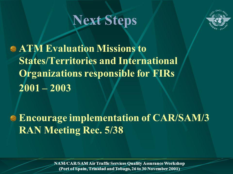 NAM/CAR/SAM Air Traffic Services Quality Assurance Workshop (Port of Spain, Trinidad and Tobago, 26 to 30 November 2001) Next Steps ATM Evaluation Mis