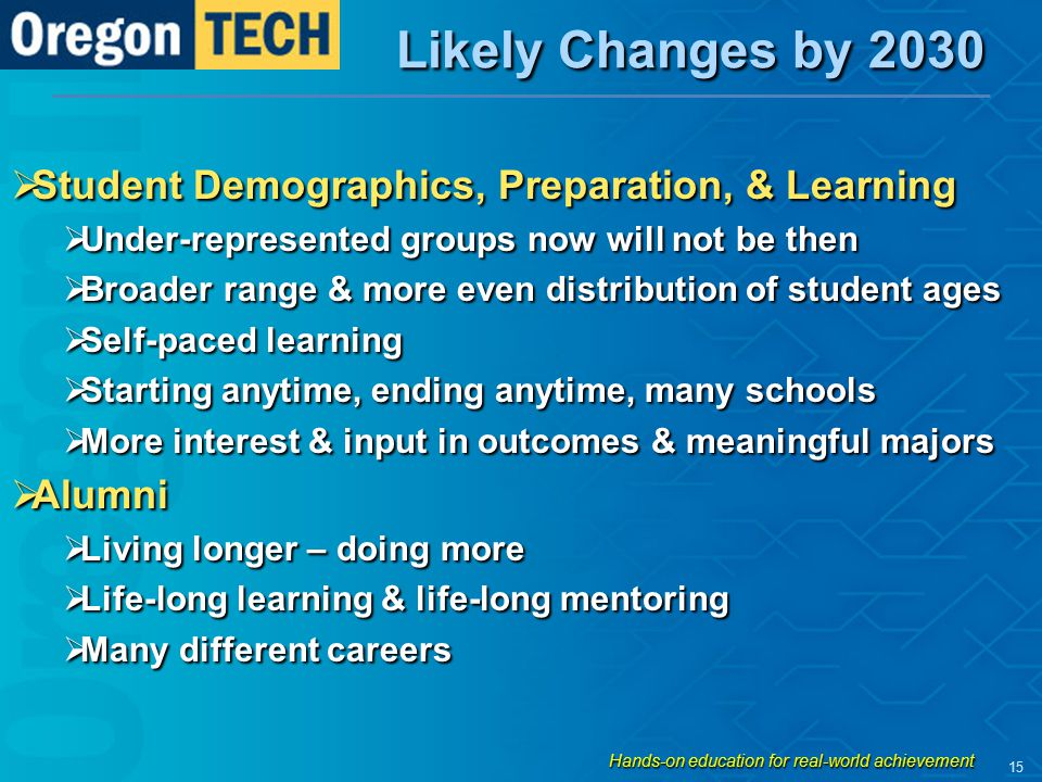 Likely Changes by 2030  Student Demographics, Preparation, & Learning  Under-represented groups now will not be then  Broader range & more even dis