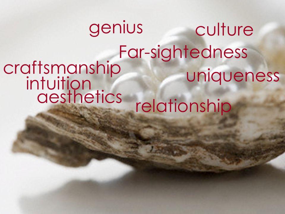 aesthetics craftsmanship culture relationship genius uniqueness Far-sightedness intuition