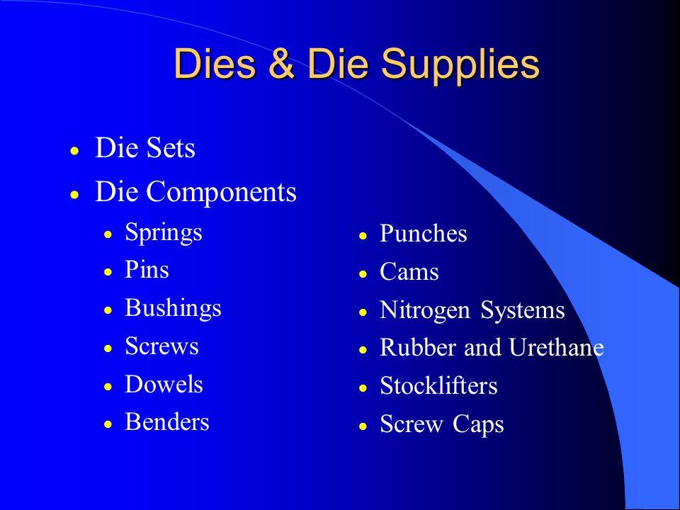 Dies & Die Supplies  Die Sets  Die Components  Springs  Pins  Bushings  Screws  Dowels  Benders  Punches  Cams  Nitrogen Systems  Rubber and Urethane  Stocklifters  Screw Caps