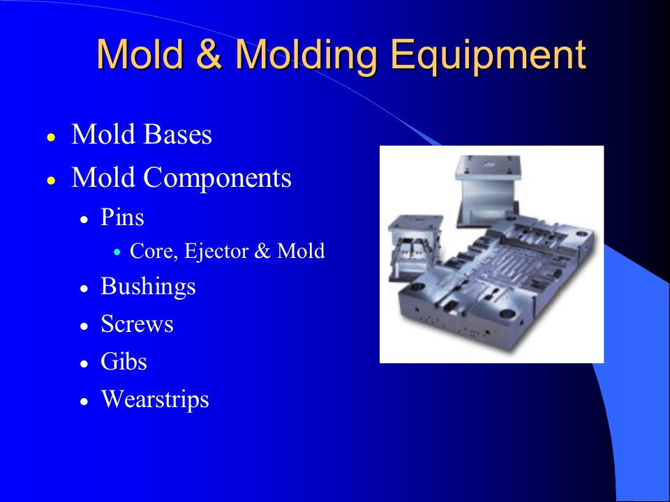 Mold & Molding Equipment  Mold Bases  Mold Components  Pins  Core, Ejector & Mold  Bushings  Screws  Gibs  Wearstrips
