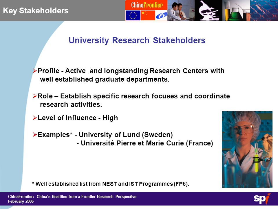 ChinaFrontier: China's Realities from a Frontier Research Perspective February 2006 Key Stakeholders University Research Stakeholders  Profile - Active and longstanding Research Centers with well established graduate departments.